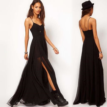 S-XXL Sexy slim black braces chiffon women's backless evening party dinner gown summer bohemian beach split double dress QZ432
