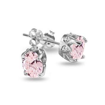 Oval Crown Simulated Morganite and White Topaz Stud Earrings in Sterling Silver