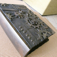 Steampunk secret drawer wooden book, box