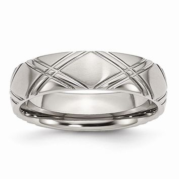 Men's Stainless Steel Criss-cross Design Brushed and Polished Wedding Band Ring