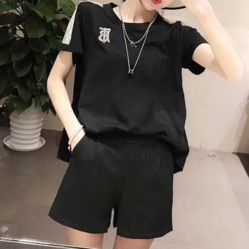 """Thom Browne"" Woman's Leisure  Fashion Letter Sequin Printing   Loose Large Size Short Sleeve Shorts Two-Piece Set Casual Wear"