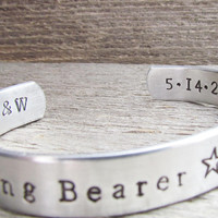 Ring Bearer Toddler or Child Size Name Bracelet WEDDING PARTY Hand Stamped Jewelry Custom Cuff Aluminum Personalized Customize Little BOY