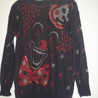 Vintage Clown Face Sweater, Metallic Sweater With Stars, Black Knit Top, Long Sleeved Top, Grunge,Hipster Clothing, Size Small