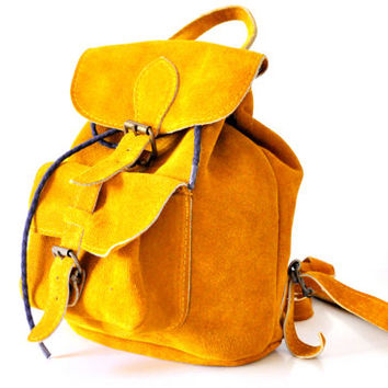Suede Mustard Yellow Leather Backpack