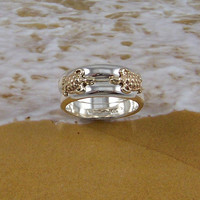 Turtles in Love, Double Turtle Ring with two 14k Gold turtles on two Sterling Silver rings