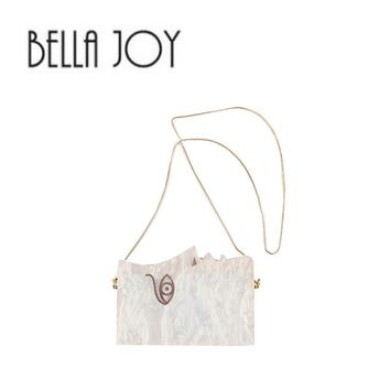 BELLA JOY Personality Human Face Evening Bag Party Wedding Wooden Acrylic Hard Box Evening Bags with Chain Women Day Clutch Bag