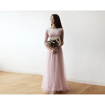 Pink Blush Stretchy Velvet And Tulle Gown