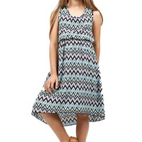 CHEVRON PATTERN CROCHET DETAIL DRESS GIRLS