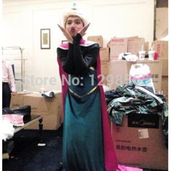 Free Shipping Elsa Queen Costumes Women Elsa Princess Cosplay Dress Adult Halloween And Party Dress for kids fantasia AN320