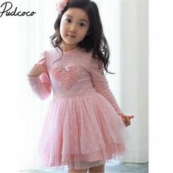 Pink Kid Baby Girls Party Dresses Long Sleeve 3D Heart Tulle Tutu Dress 2-7Y Autumn Winter Long Sleeve Dress for kids girls