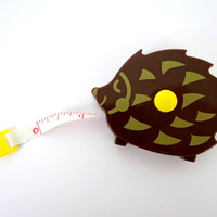 Kawaii hedgehog plastic measuring tape - free standing - inches and centimeters - 1.5 meters long - super cute animal - travel sewing supply