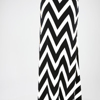 Chevron Print Maxi Skirt // Black & White