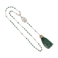 Tassel and Hamsa Necklace Green Onyx