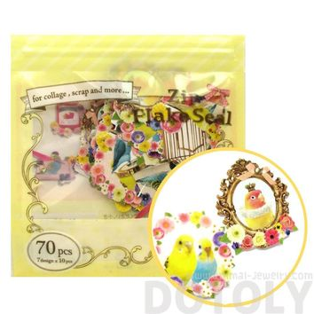 Colorful and Pretty Parakeet Shaped Floral Sticker Flake Seal Pack From Japan | 70 Pieces