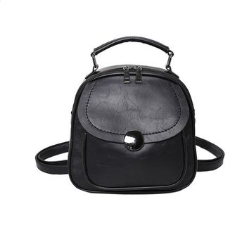 LACATTURA Fashion Vintage Preppy Style Casual Backpacks Japan Korean Style mini PU leather Women's Bags for Teenagers Sac A Dos