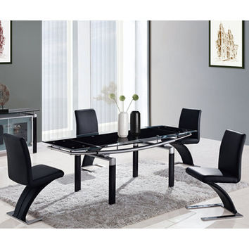 Global Furniture USA 88DT 5 Piece Black Glass Dining Room Set w/ Black Legs