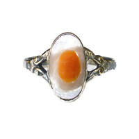Blister Pearl Ring, Sterling Silver, Scrolled, Split Shank, Sterling Ring, Vintage Jewelry