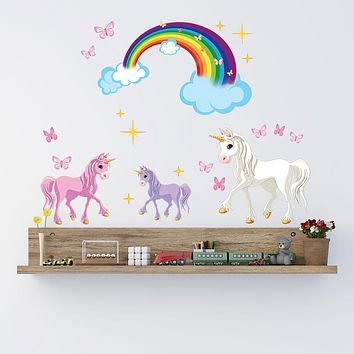 Unicorn With Rainbow Wall Decal Set