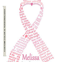 Personalized Cancer Fighter Ribbon Art, Cancer Ribbon Word Art, Unique Handmade Word Art Typography,  PRINTABLE DIGITAL FILE