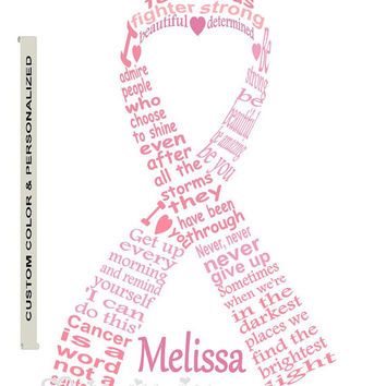 Personalized Cancer Fighter Ribbon Art Word Unique Handmade Typography