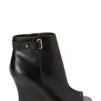 FOREVER 21 Peep-Toe Wedge Booties Black