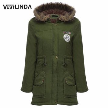 VESTLINDA Coats Big Size Fur Hooded Warm Coat Army Green Drawstring Jackets Coat Winter Jacket Women Warm Coats Parkas Plus Size