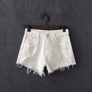 Summer Women's Fashion Stylish Rinsed Denim White Denim Shorts [6034331585]