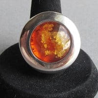 BIG Vintage Genuine Baltic Honey Amber Sterling Silver 1970's Modernist Ring, Size 7