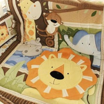hot sell New 8pcs Baby Crib Cot Bedding Set jungle Quilt Bumper Sheet Dust Ruffle Nappy bag 5 items for baby boy