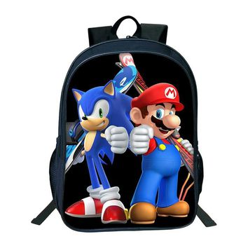 Super Mario party nes switch 2018  Printing Bags Children Cartoon Sonic Backpacks Boys Girls SchoolBag Daily Kids BookBag Big Capacity Backpack AT_80_8