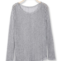 'The Eva' Gray Long Sleeve Round Collar Sweater