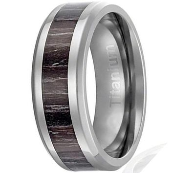 CERTIFIED 8MM Men's Titanium Ring Brown Black Stripes Wood Inlay | Beveled Edges