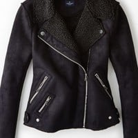 AEO Women's Faux Shearling Moto Jacket (True Black)