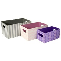 Printed Storage Bins / Organizing Boxes with Handles (Set of 3) (Multi Color)