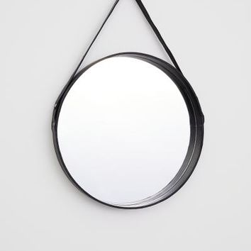 Leather-framed Round Mirror - Black - Home All | H&M US
