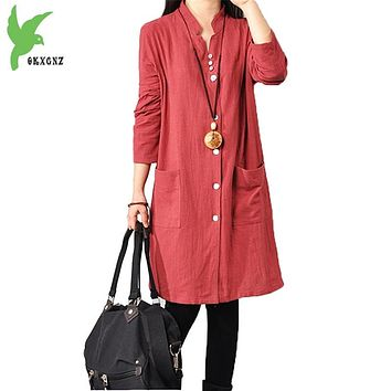 Spring Summer Women's Cotton Linen Dress New Fashion Solid Color Single-breasted Shirt Dress Plus Size Casual Dress OKXGNZ A729
