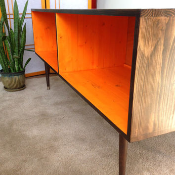 Mid Century Modern Record Cabinet Media Table  TV Stand Entertainment Cabinet, MCM Orange and Chocolate Brown