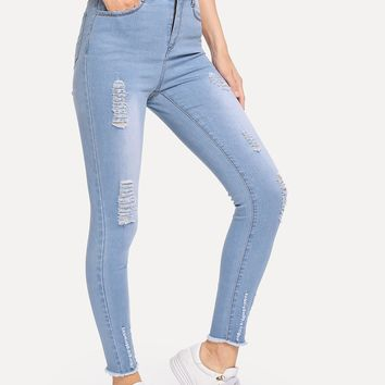 Blue Faded Wash Frayed Hem Ripped Jeans