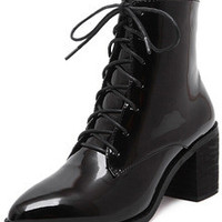 Black Chunky Heel Patent Leather Boots
