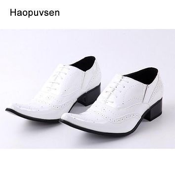 2017 new arrival genuine leather pointed toe men high heel height increased men shoes white patent leather wedding shoes US12