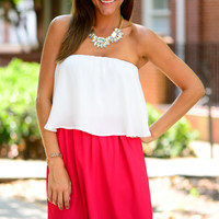 Sassy Snap Dress, Red/White