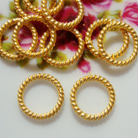 24K Vermeil Twisted wire Jump Ring/Spacer, 10 pcs, 8 mm, 16 gauge