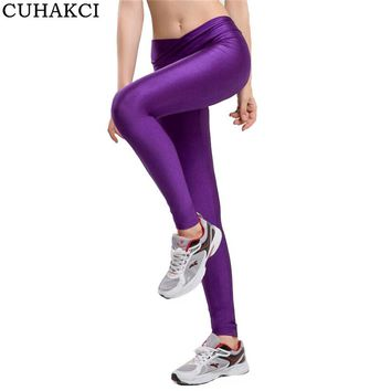 CUHAKCI High Waist Candy Color Leggings