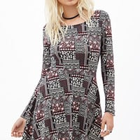 FOREVER 21 Abstract Printed Skater Dress Black/Red