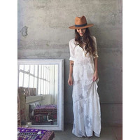 White Robe Boho Beach Maxi Dress