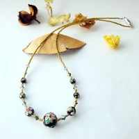 Black Cloisonne Necklace Flower Magnetic Oriental Crystals | LittleApples - Jewelry on ArtFire