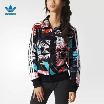 Women¡¯s Adidas Print Sport Long Sleeve Cardigan Jacket Coat Windbreaker