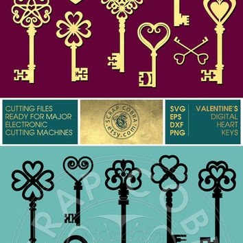 Valentine's Heart Skeleton Keys - Vector Decal Clipart - SVG, eps, DXF, PNG for cards, transfers, cutting machines cv-102