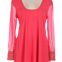 Studded Sleeve Tunic - Coral