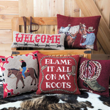 'Round The Campfire Hooked Pillow Collection